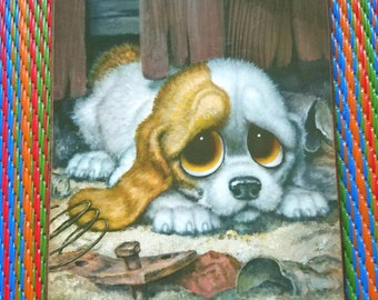 Big Eyed Sad Pity Puppy Gig 1960s Wall Hanging Plaque - No Frame