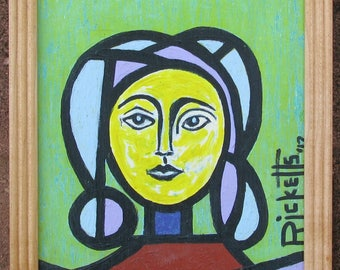 YELLOW WOMAN Original Painting Framed 8x10 No. 805