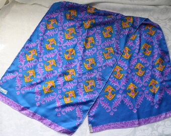 Vintage Signed Burmel Handrolled Ikat Style Oblong Rectangle Silk Scarf in Blue, Violet, and Orange Made in Japan
