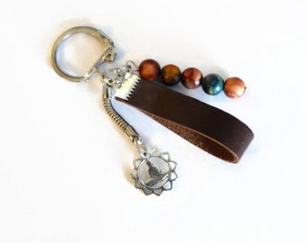 Yoga beads keychain for, handcrafted meditation item for him and her, gender neutral gift under 10 dollars, cute and simple, ready to ship