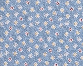 Blue Floral Fabric - Daisy Fabric - White Daisy Fabric - Sorbet