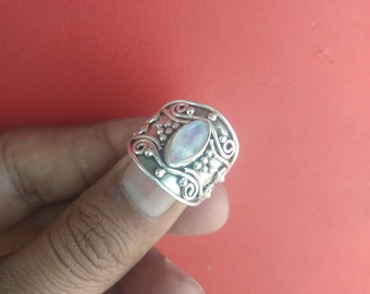 Rainbow moonstone ring, silver ring