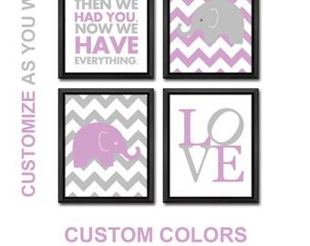 purple baby girl nursery decorations elephant, elephant girls room wall art, elephant girl nursery art, elephant baby gift Print/Canvas/Digi