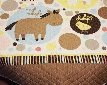 Baby Quilt Panel, Baby Farm Animals