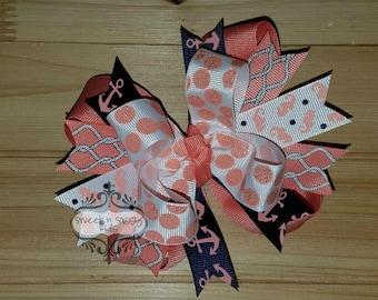 LAST ONE, Coral Nautical hair bow, Summer, Seahorses, Anchor