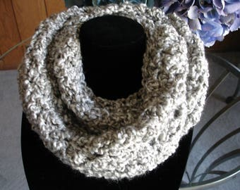 Silver Gray Cowl Scarf, Infinity Scarf, Crocheted Scarf, Winter Scarf