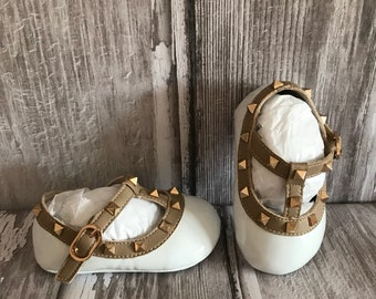 White Patent Leather Valentino Inspired Baby Rockstud Pram Shoes - Like Mummy's but Designer Inspired!