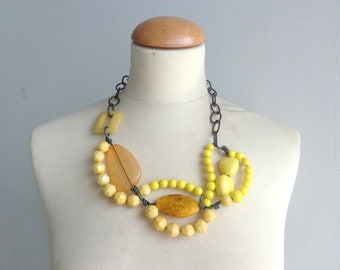 Yellow statement necklace, yellow black necklace, wire necklace
