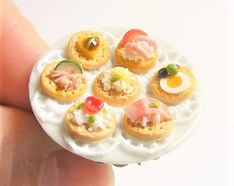 Food Jewelry Canapes Ring, Hors d'oeuvres Ring, Miniature Food Ring, Food Jewellery, Mini Food Jewelry, Dollhouse, Canapes Charm, Chef Ring