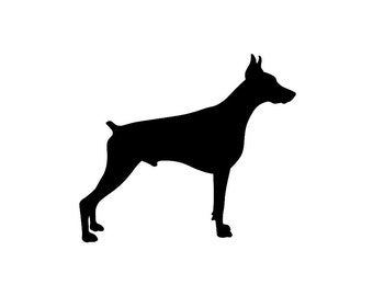 Doberman Pinscher v1 Dog Breed Silhouette Custom Die Cut Vinyl Decal Sticker - Choose your Color and Size