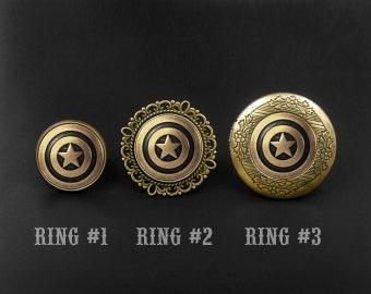 Pentagram Ring -Captain America Ring -Super Hero Ring -Locket Ring -Adjustable Personalized Ring -Gift for Her