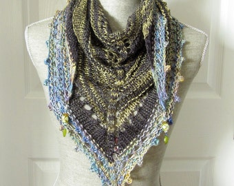 SALE - Handknit Women Triangle Scarf Shawl Style Neckwrap with Bead Dangles - Sage and Sky Blue
