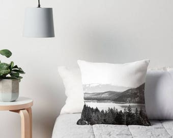 Donner Lake Pillow Cover / California Pillow. Black and White Pillow. Landscape Pillow.