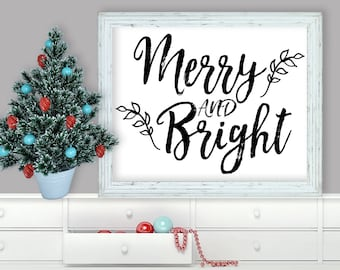 Printable Wall Art, Merry and Bright, Christmas, Home Decor, Instant Download