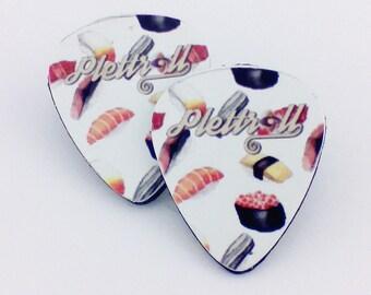 Guitar picks earrings. Sushi . Original concept by Plettroll