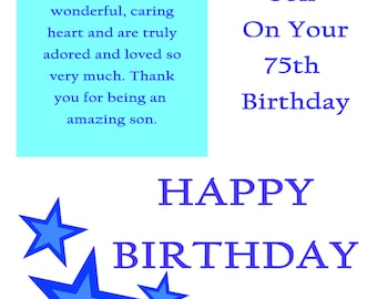 Son 75 Birthday Card with removable laminate