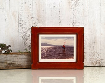 "6x8"" Picture Frame in Wide Bones Style with Super Vintage Red Dye Finish - IN STOCK - Same Day Shipping - 6 x 8 Picture Frames"
