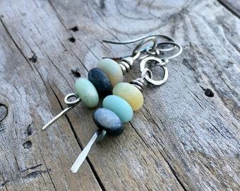 Sterling Silver Amazonite Earrings Handmade by Wild Prairie Silver Jewelry
