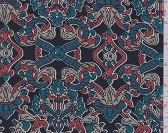 Navy/Teal Scroll Print Polyester Crepe, Fabric By The Yard