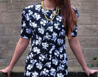 Original 1980s Vintage Escada Monochrome Floral Mini Dress UK Size 10/12