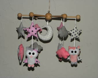 Baby mobile, owls, owls, stars, clouds and moon grey and pink