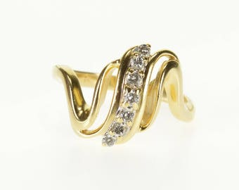 14k Diamond Inset Tiered Wavy Curvy Bypass Ring Gold