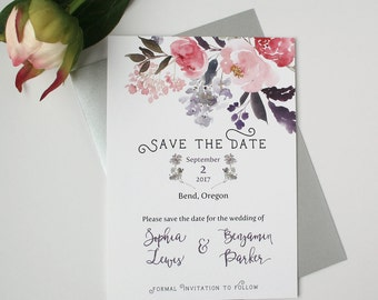 Watercolor Save the Date Cards - Purple & Blush - Save the Date Card - Garden Watercolor Floral Collection