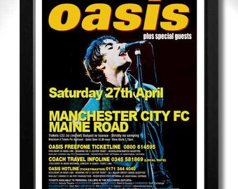 OASIS - Mini Concert Poster Maine Rd Manchester City FC Sat 27 April 1996 - A3 unframed art print mini poster