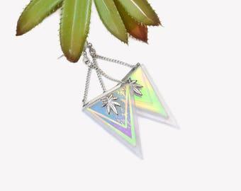 TASTE the RAINBOW earrings Sterling Silver 925   Holographic triangle earrings   Iridescent dangle earrings   Marijuanna cannabis earrings