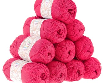 10 x 50g crochet/knitted yarn Alize forever, #396 Poppy
