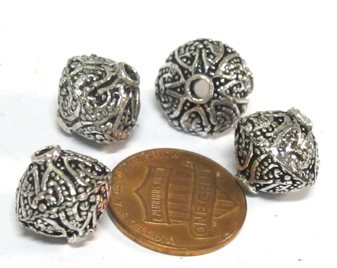 4 BEADS - Tibetan  Bicone shape antiqued silver color finish beads from Nepal - BD648C