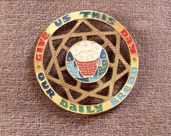 Terra Sancta Guild brass trivet, round enamel brass wall hanging or trivet Israel - Give Us This Day Our Daily Bread