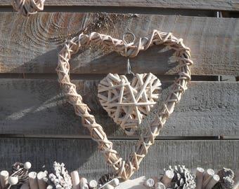 CREAM WICKER HEART Wreath for Floral Decorating, Festive, Christmas, Xmas