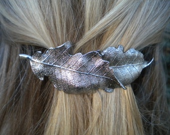 Layered Leaf Barrette Silver Washed Hair Clip Simple Woodland Pony Clip Organic Metal Leaves Minimal Accessory Bespoke Nature Barrette Gift