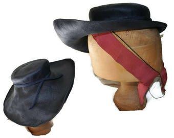 1940er Jahren blau Hut / / Vintage Kipper Hut / / große Krempe Kriegszeit Hut