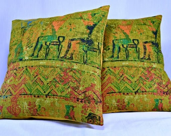 "Vintage Pillow Cover, Linen Pillow Cover, Tribal Pillow, Green Pillow, Throw Pillow, Home Decor Pillow, Boho Pillow - 16"" Pillow Cover"