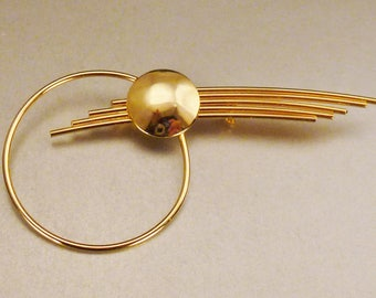 SHOOTING STAR BROOCH, goldtone moderne pin, mid century modern, 3 1/2 X 1 3/4 , great condition