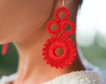 Red earrings, Gift idea for women, crochet statement earrings, gift under 15, gift for her, women's chandelier earrings, colors