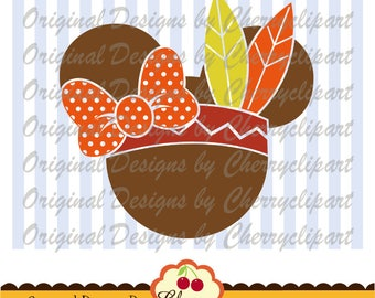 Thanksgiving Mouse ears Minnie Thanksgiving Silhouette & Cricut Cut Files DGTH33-Personal and Commercial Use