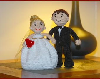 DIGITAL DOWNLOAD: PDF Crochet Pattern for the Bride and Groom Amigurumi Dolls