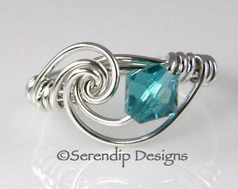 Sterling Silver Birthstone Ring, Mothers Ring with 6mm Swarovski Birthstone Crystal, Argentium Silver Ring