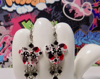 Minnie Mouse Pink and Black Dots Double Sided Print with Polka Dot Bow Dangle Earrings