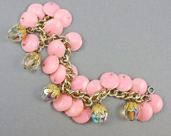 Vintage Charm Bracelet 1960s Faceted Glass Beads And Pink Plastic Disk Beads Vintage Jewellery
