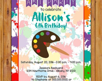 Paint Art Birthday Party Invite Kids Painting Invitation 4th 5th 6th Any Age Birthday Celebration Paint Splatter 5x7 Digital JPG File (544)