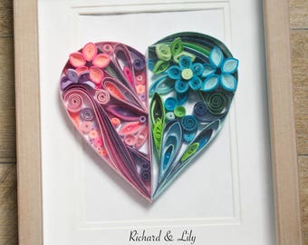 """Quilled Paper Art """"Two Halves Make One Heart"""" /1st anniversary gifts/ Heart / Quilled Heart / Love Art/ Quilled Wall Art / Gifts for Her"""