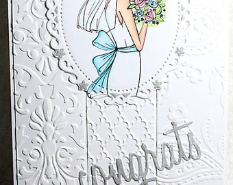 Wedding Marriage Bride To Be Groom Congrats Congratulations Blue White Silver Floral Handmade Unique Unusual One of a Kind Greeting Card
