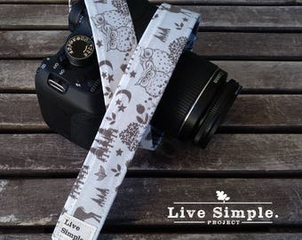 DSLR Camera Strap Wild Owls | Accessories | Soft Cotton | Live Simple®