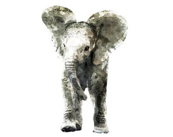 Watercolor Elephant   - Digital Clipart - PNG - JPG - Limited Commercial - Baby Room Decor - Print and Frame