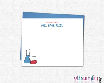 Custom Stationery for Teachers - Personalized Note Cards for Science Teachers - Teacher Gifts - Flat Note Card | Beakers