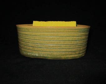 oval bowl sponge holder in gold and pea green, stoneware pottery, dishwasher safe